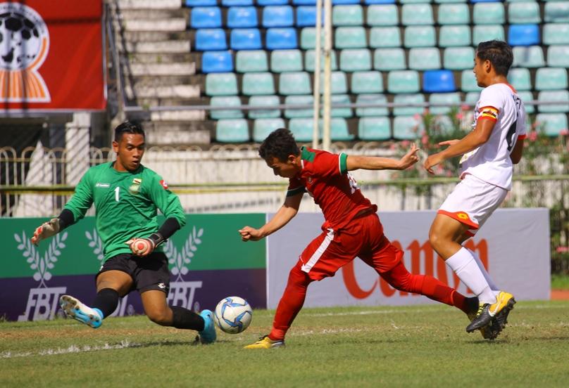 Egy Maulana Vikri ketika mencetak gol ke gawang Brunei Darussalam.